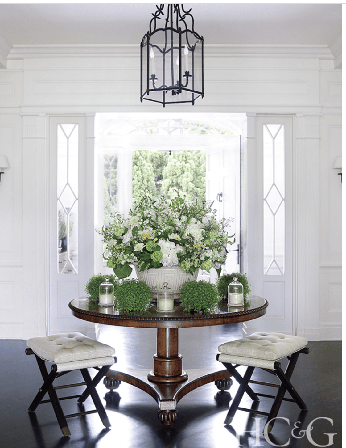 Hampton Cottages & Gardens home with round entry table on Cindy Hattersley's blog
