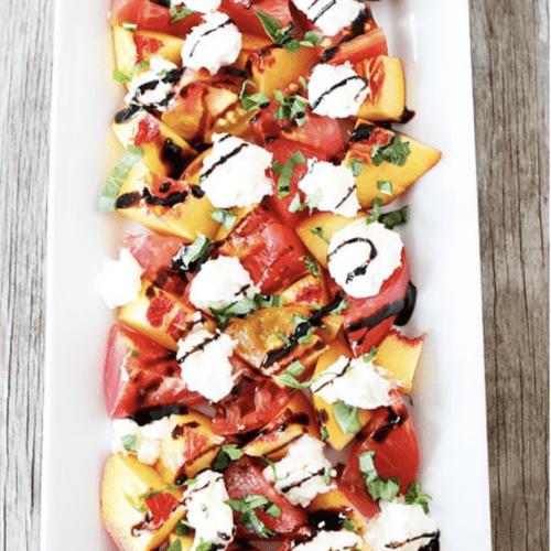 tomato peach and burrata salad