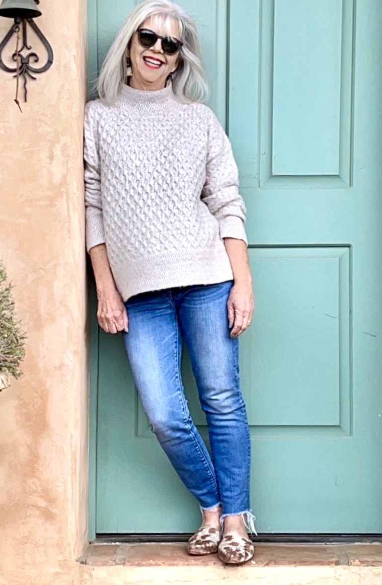 Cindy Hattersley in Kut from Cloth Sweater Madewell Jeans and Artemis Slides
