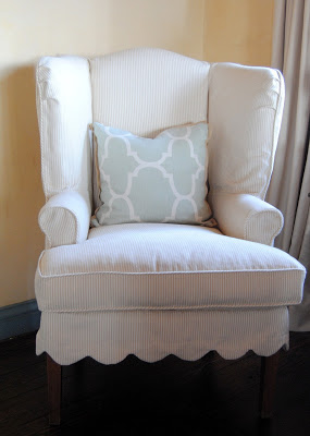 slipcovered wing back chair