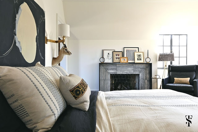 Classic Decor in bedroom of French Tudor Renovation by Summer Thornton