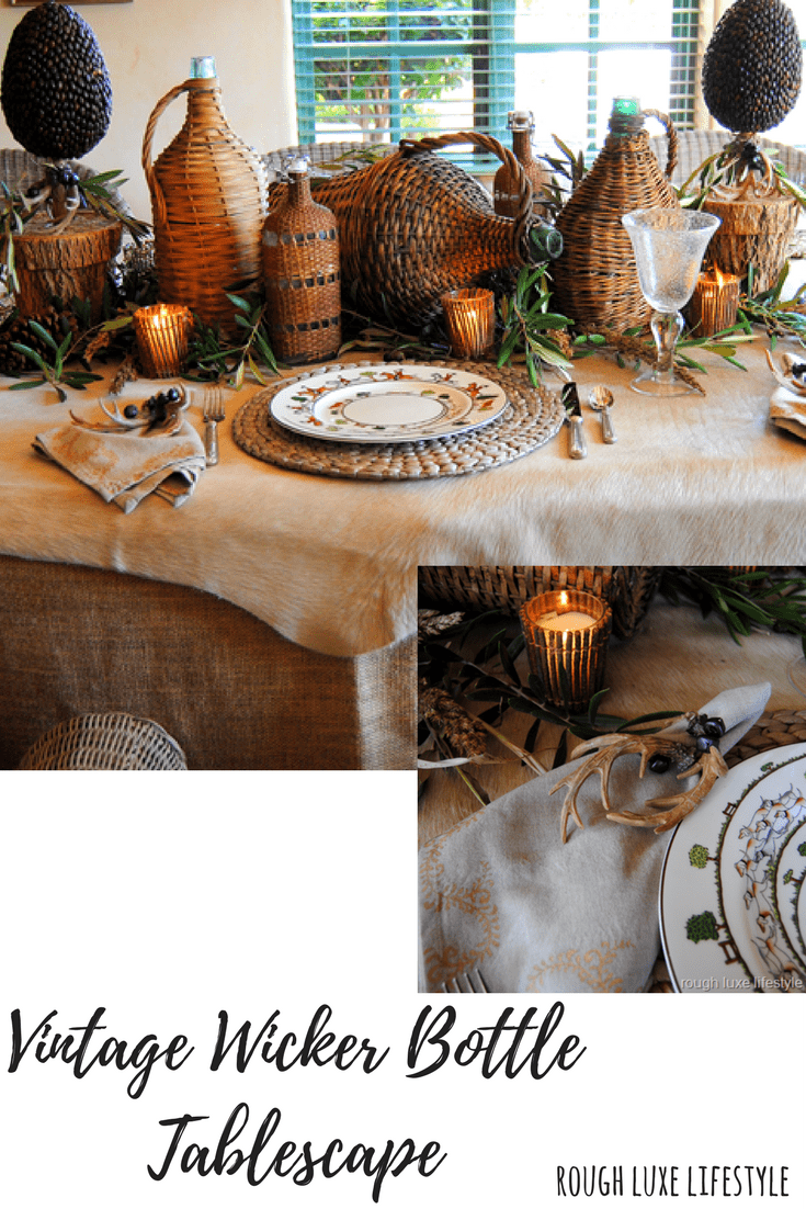 Gorgeous vintage wicker bottle tablescape on Hello Lovely