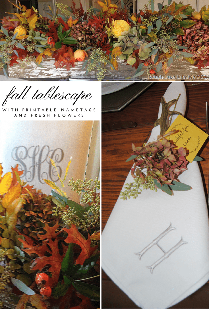 Beautiful fall tablescape and centerpiece in rustic box