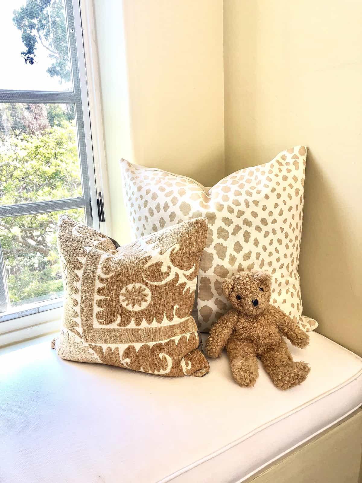 pillows and bear