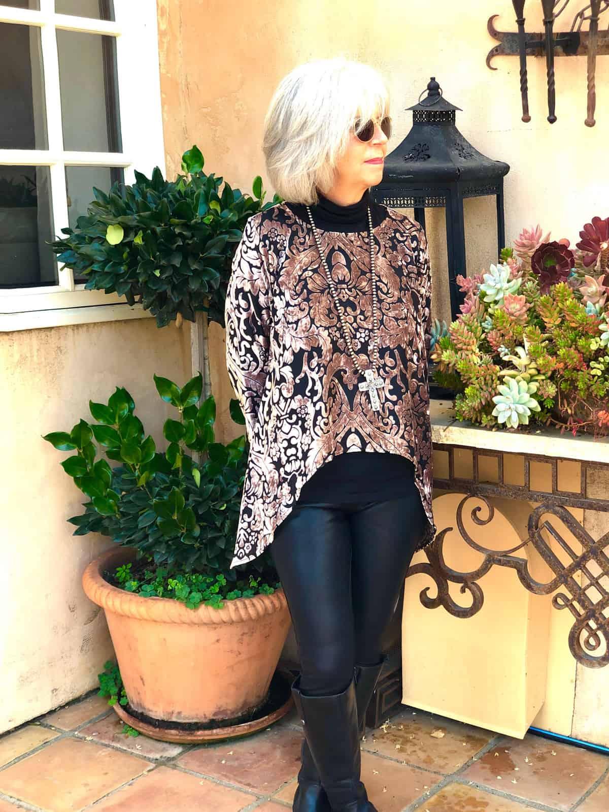 over 50 holiday fashion lisa bayne oleana top
