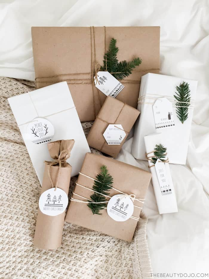 brown gift wrap with scandinavian tags
