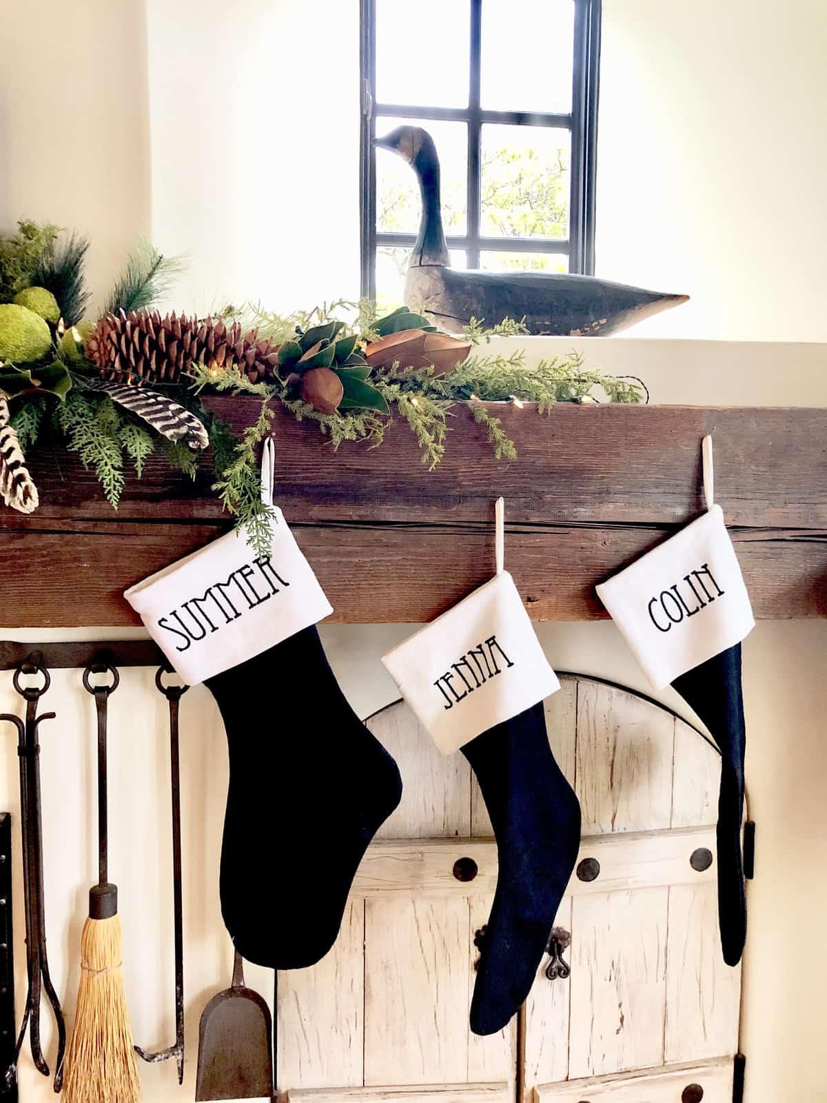 christmas stockings black and white