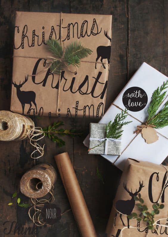 black and white brown paper gift wrap ideas