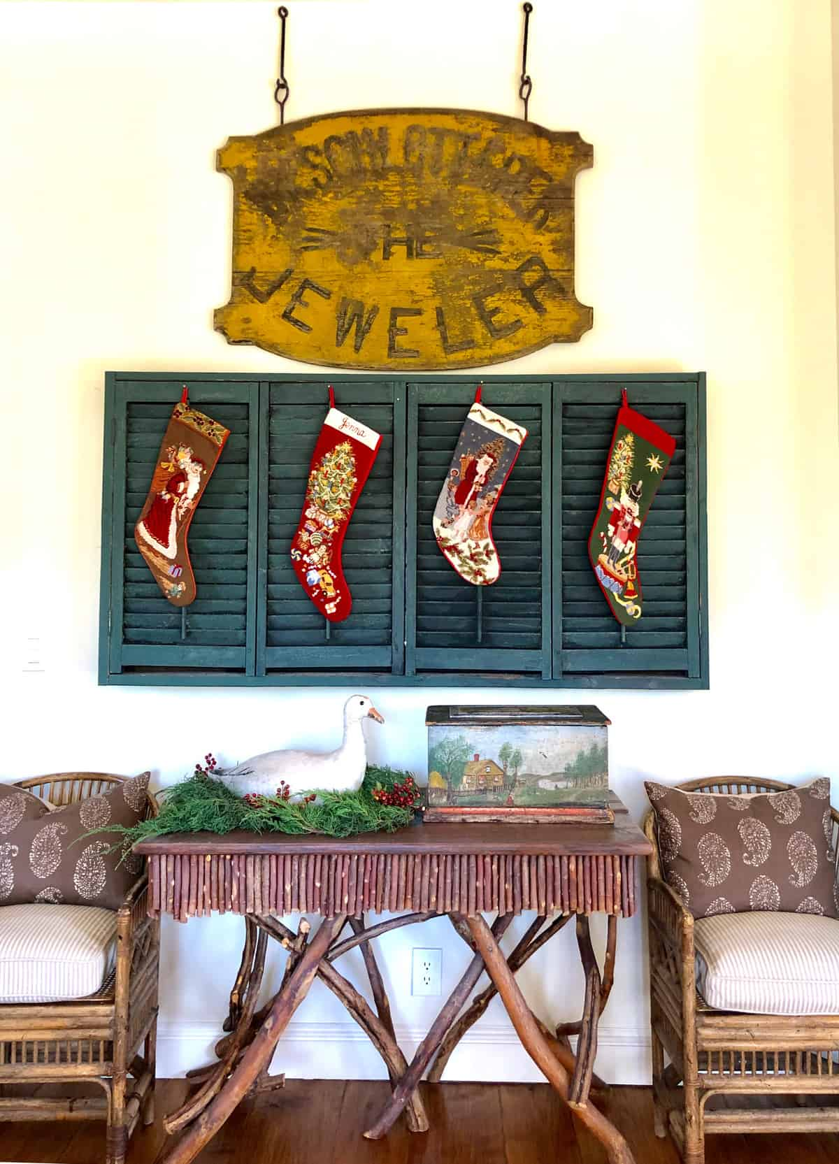 needlepoint stockings on old shutters