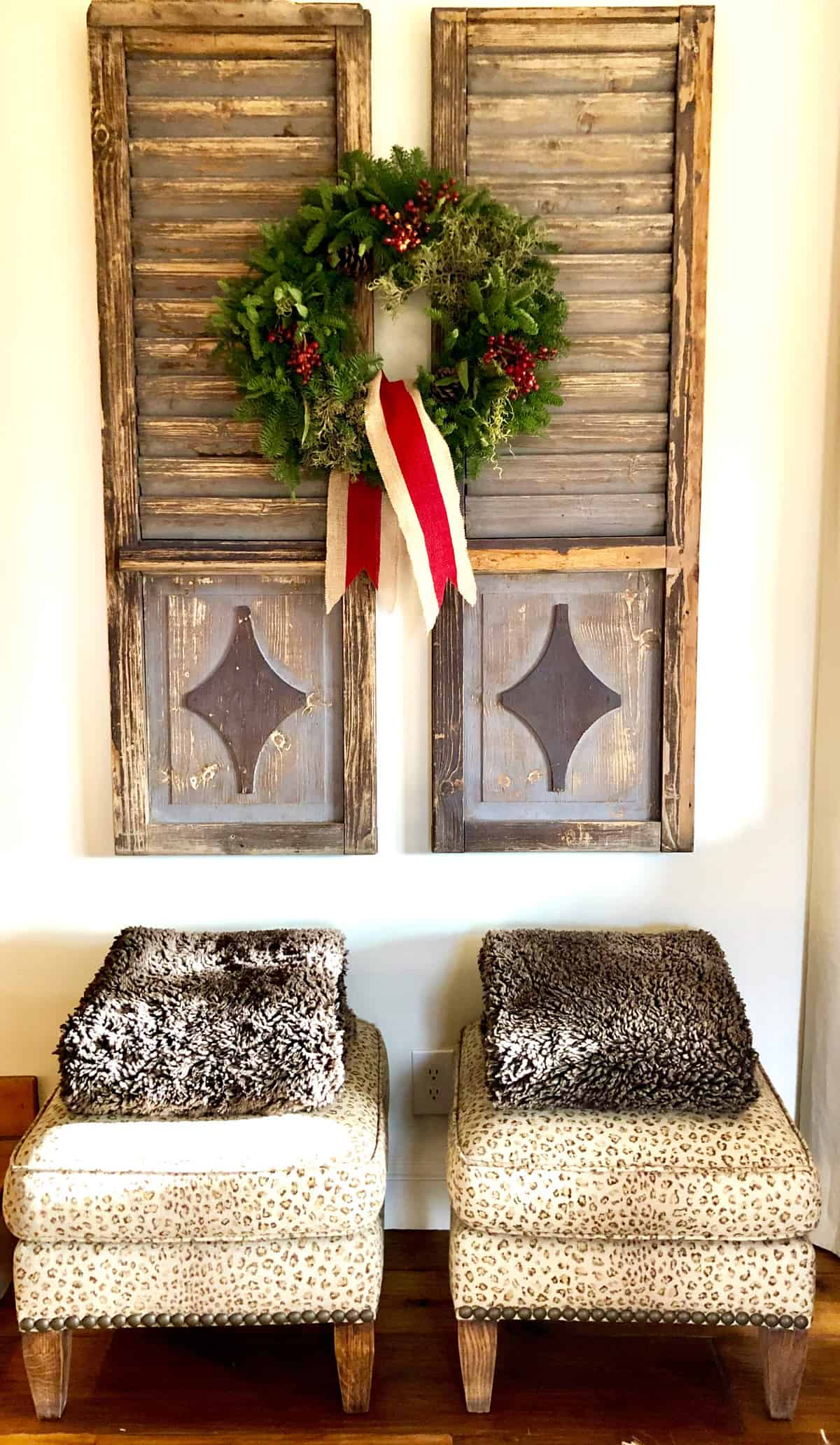 vintage shutters with wreath