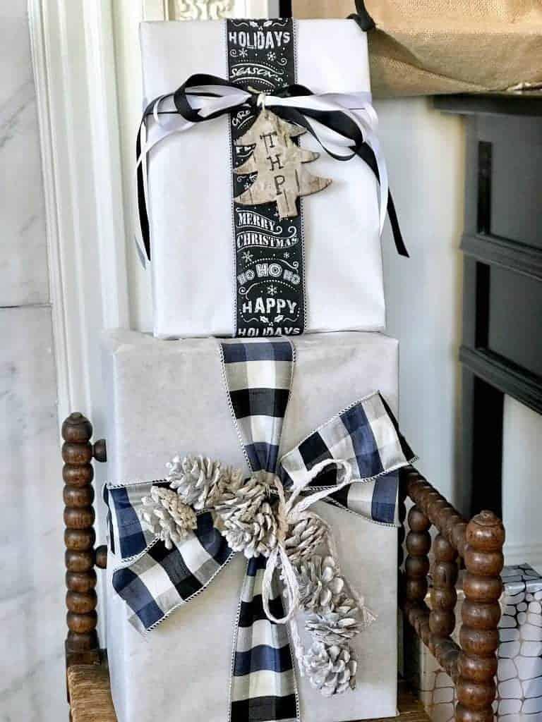 brown black and white christmas wrap
