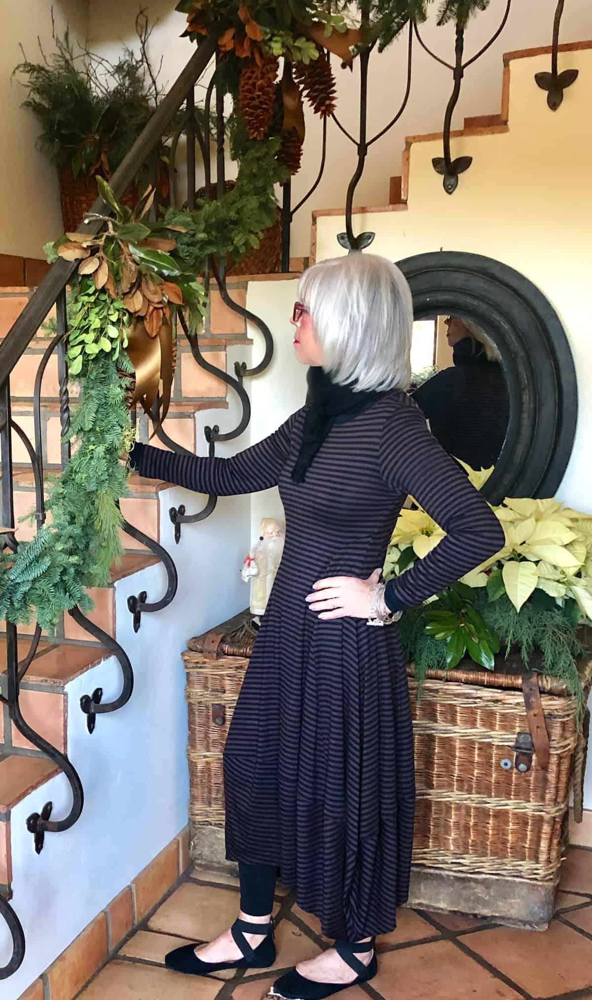 kati dress in black and brown stripe