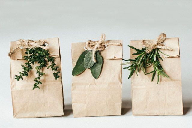 paper bags with greens
