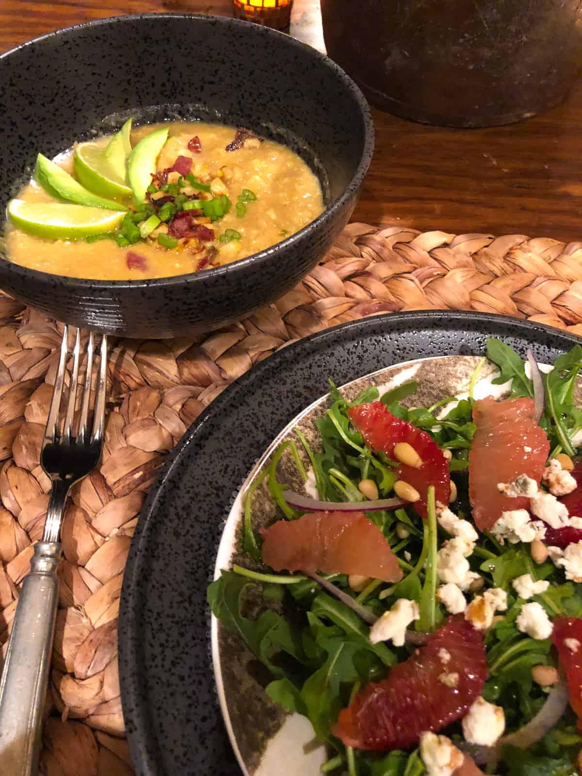 mexican street corn soup and arugula salad