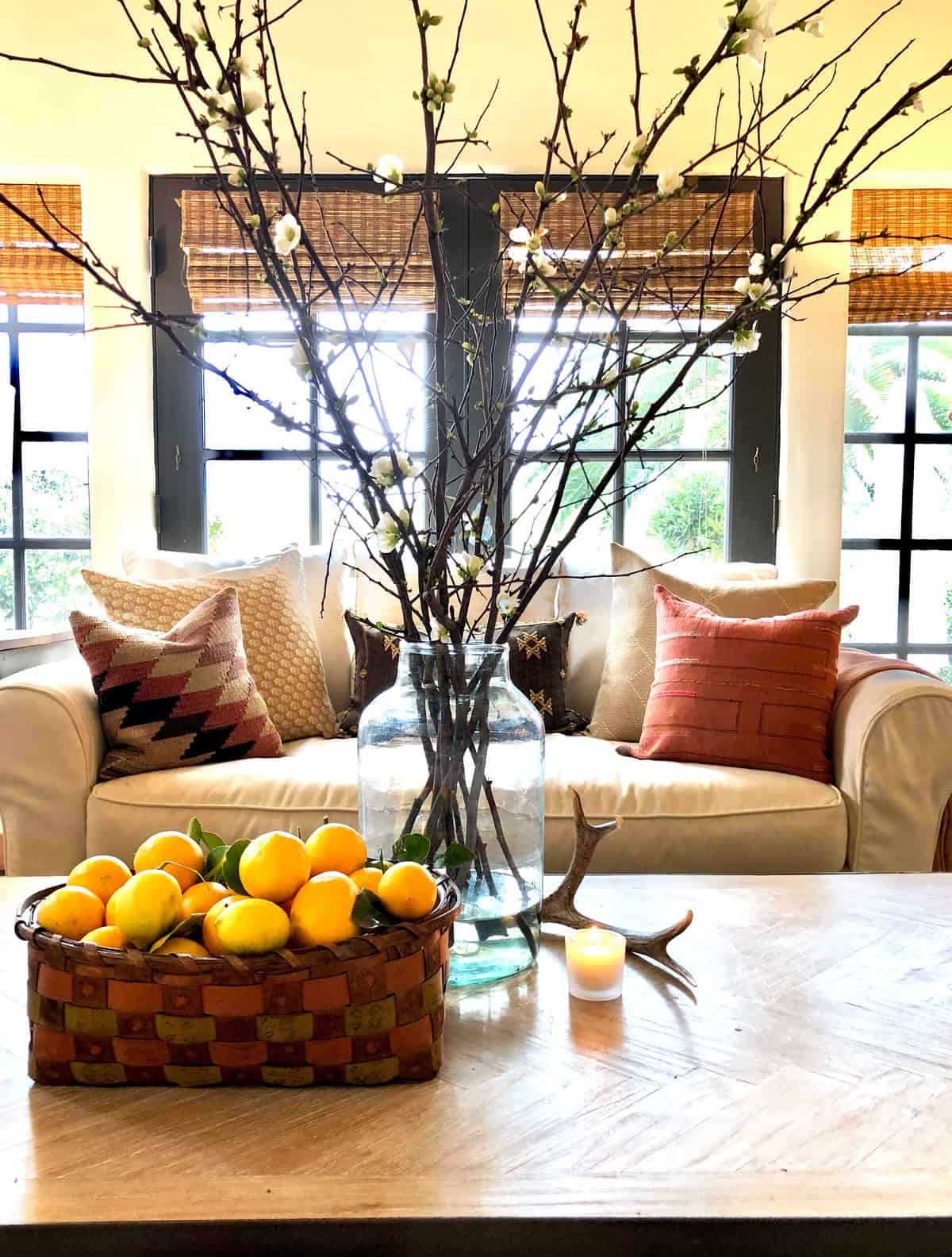 coffee table with branches and lemons