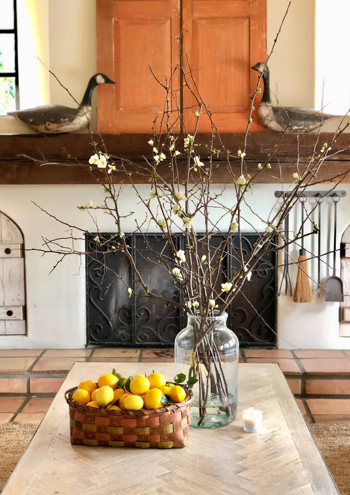 coffee table with lemons, branches and shutters