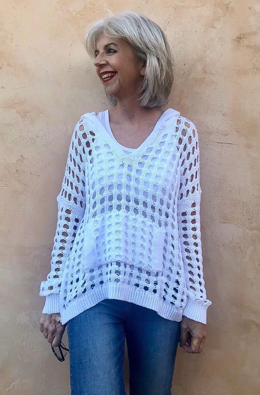 planet crochet hoodie white