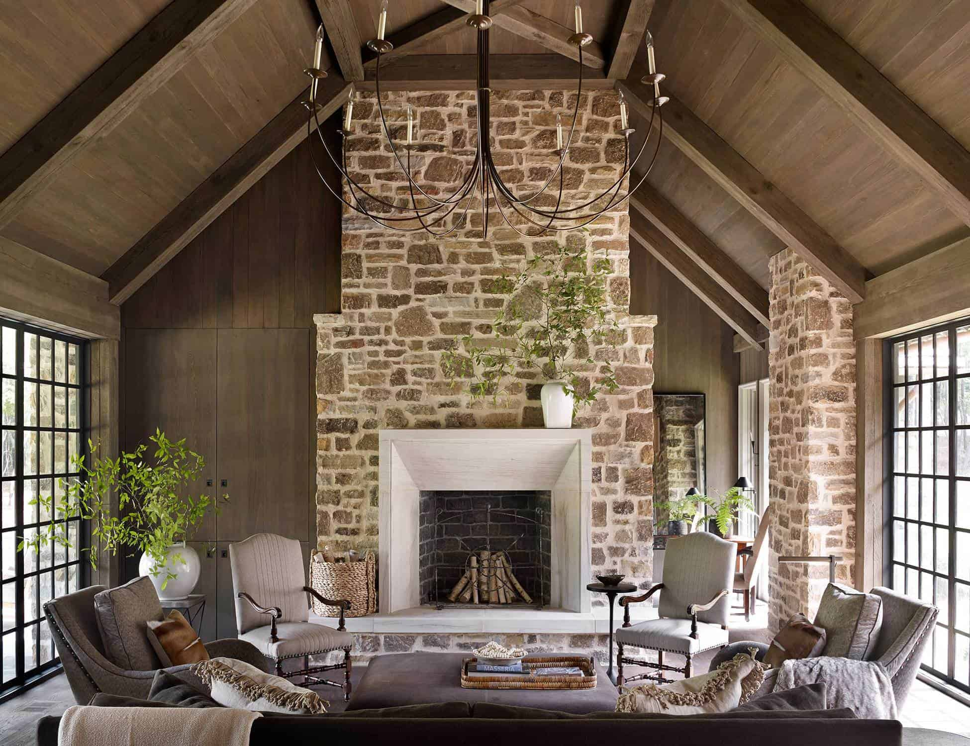 stone fireplace and living area