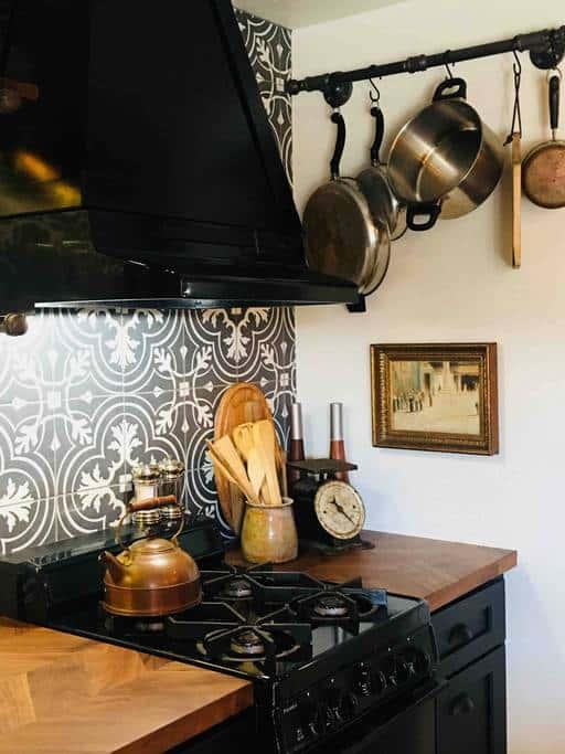 black and white ktichen stove area