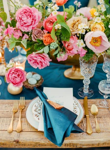bold and colorful tablescape