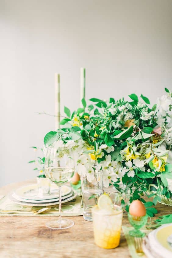 style me pretty yellow and green easter table