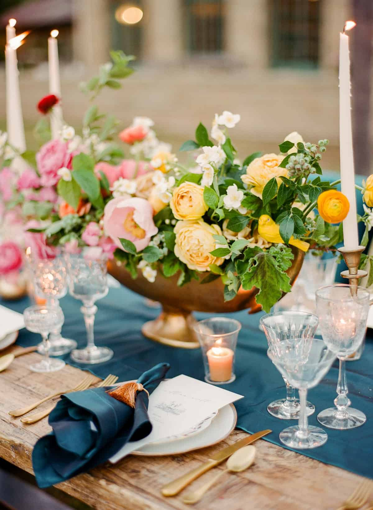 style me pretty colorful easter table