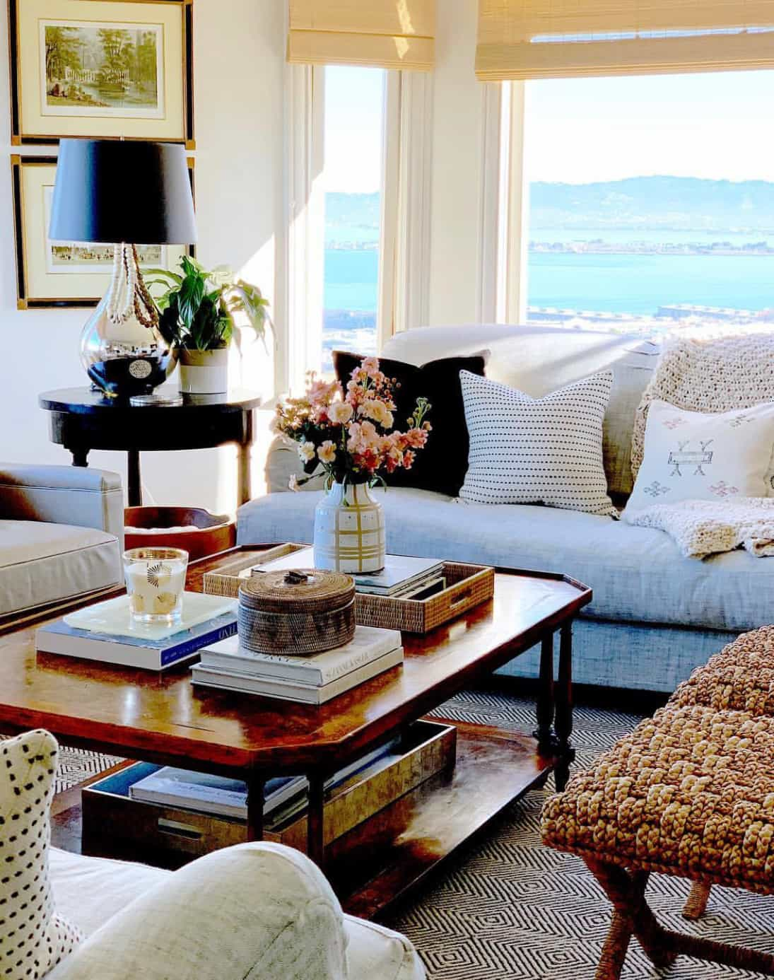 mary ann's living room with view of the bay