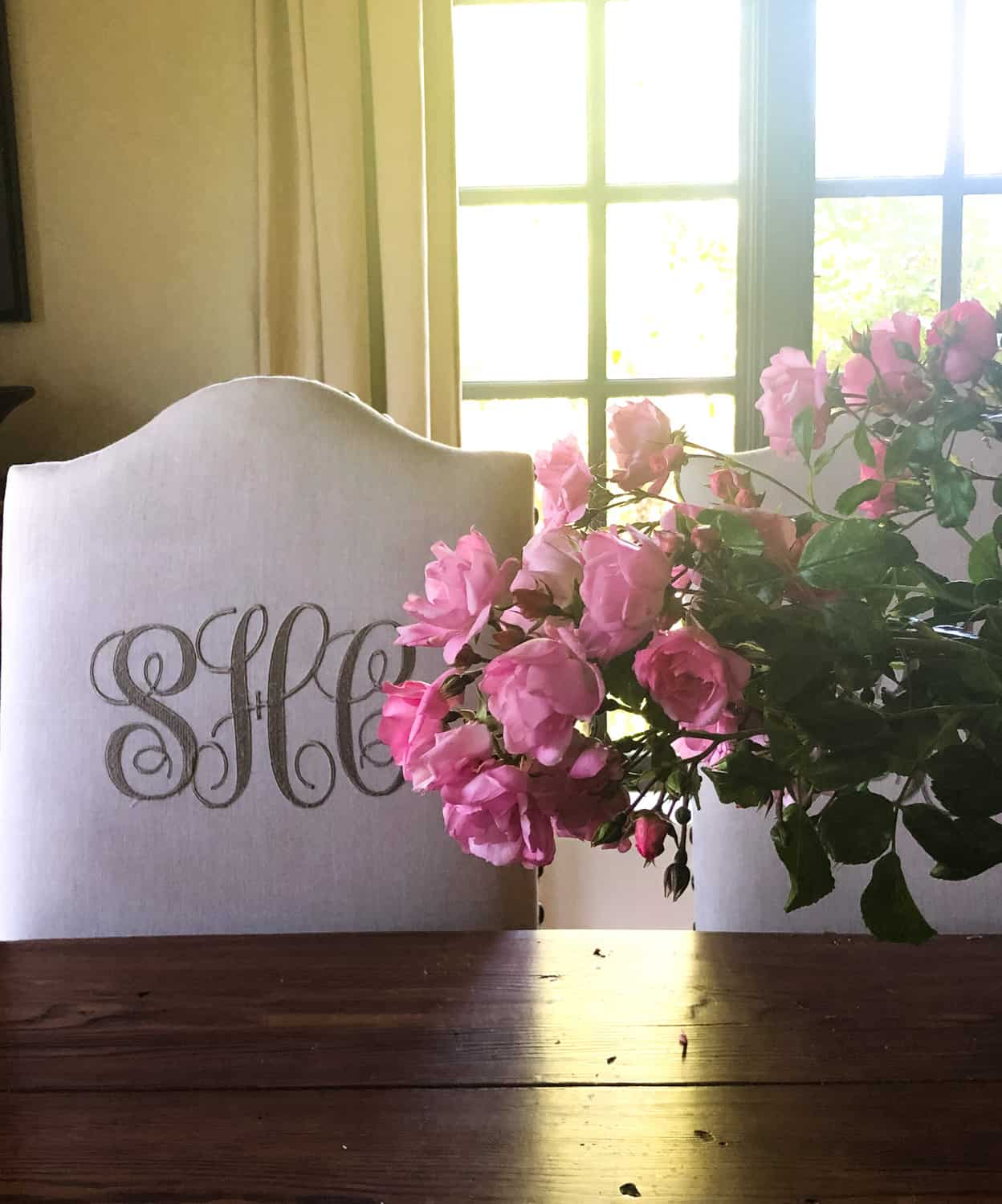 monogrammed chair with roses