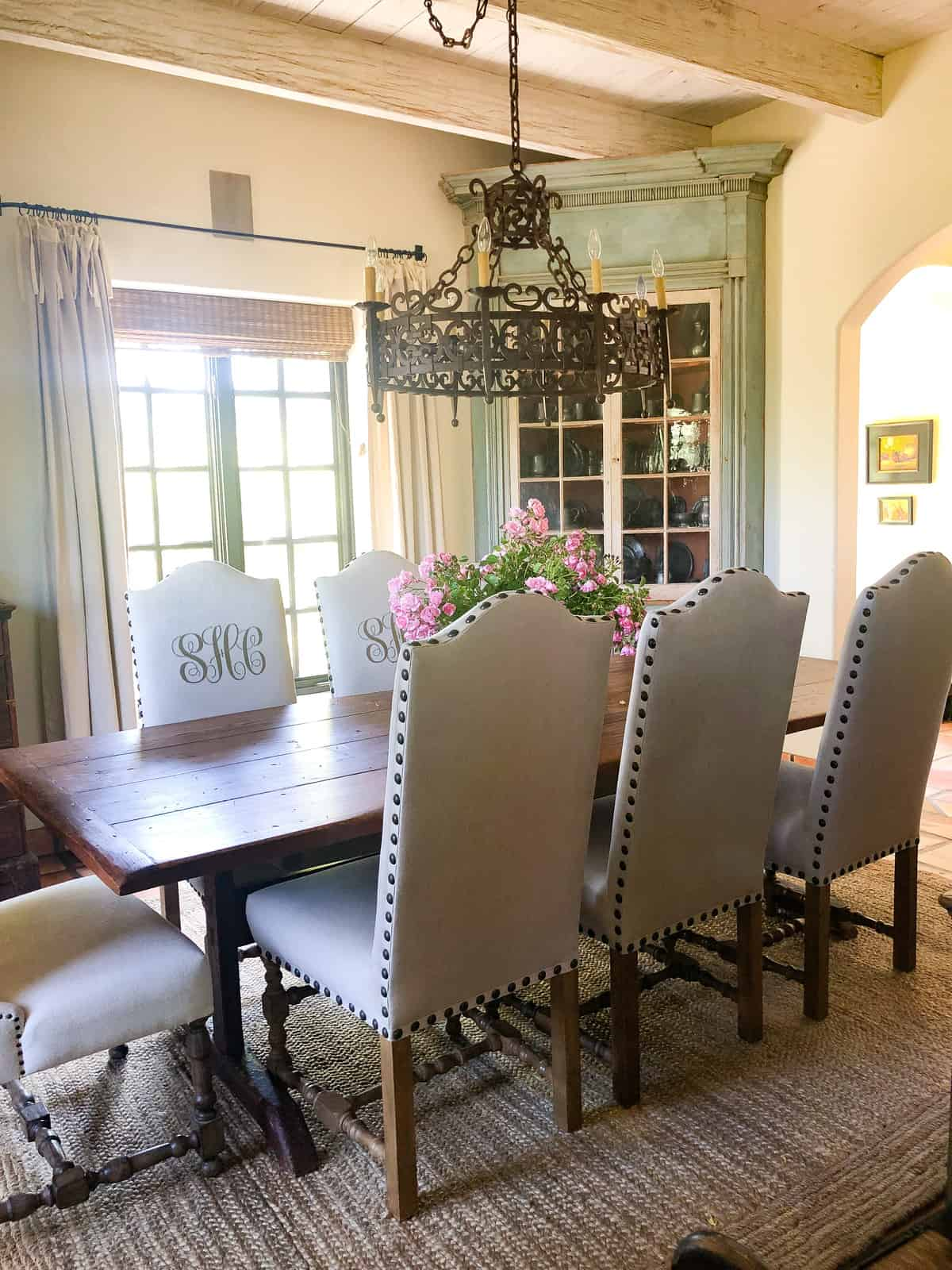 dining room with antique blue painted cupboard cindy hattersley design