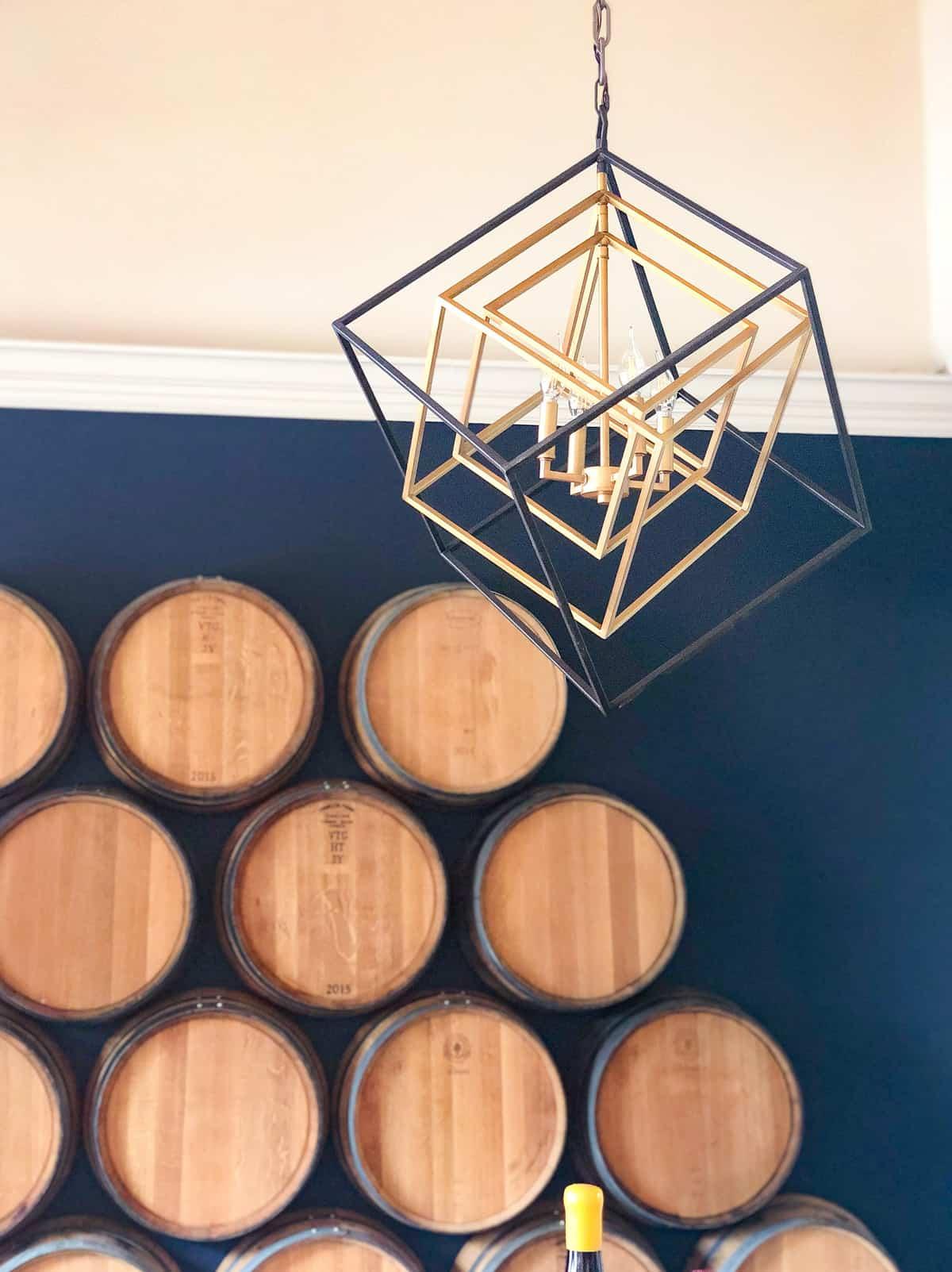 morgan winery barrel wall and tasting table