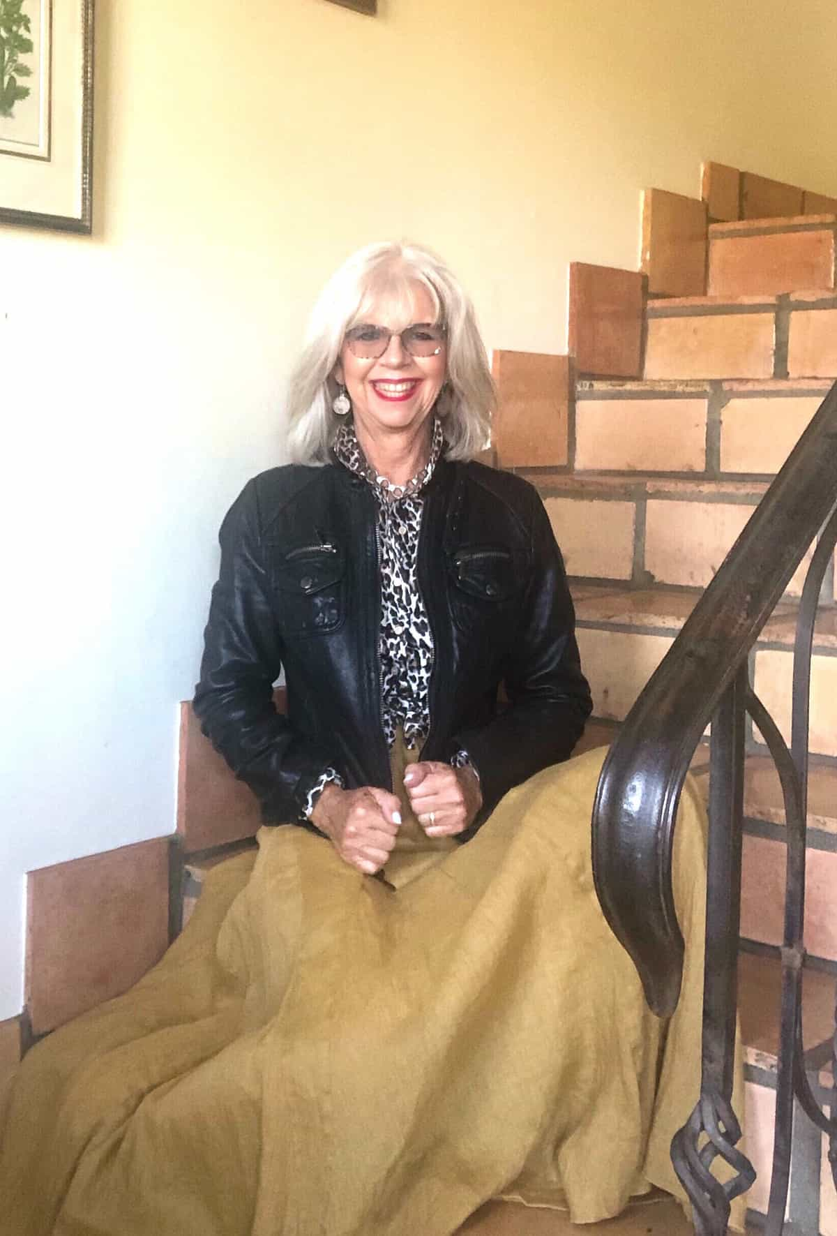 cindy hattersley in moto jacket and cp shades lily skirt