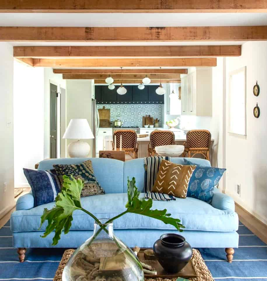 blue and brown living space