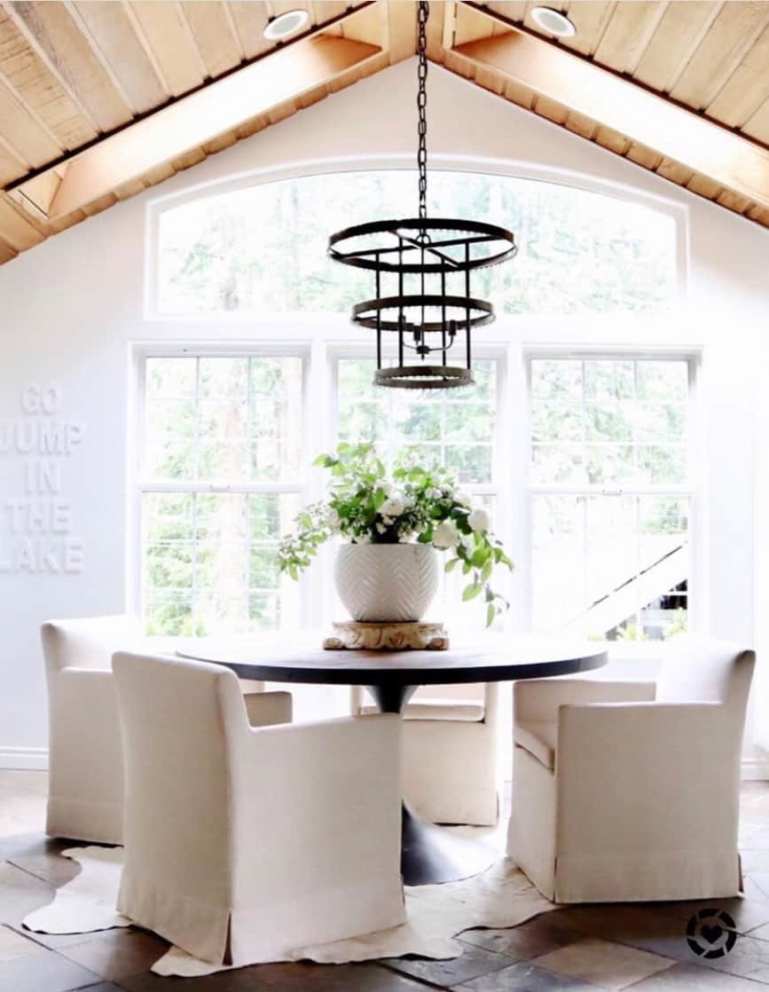 gorgeous white dining space