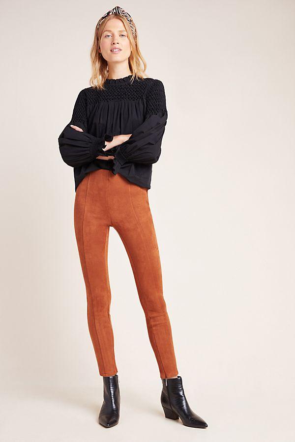 anthro faux suede leggings