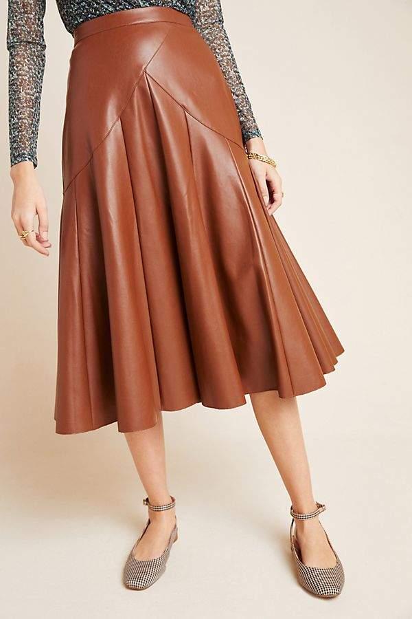 anthro maeve mariska faux leather midi skirt