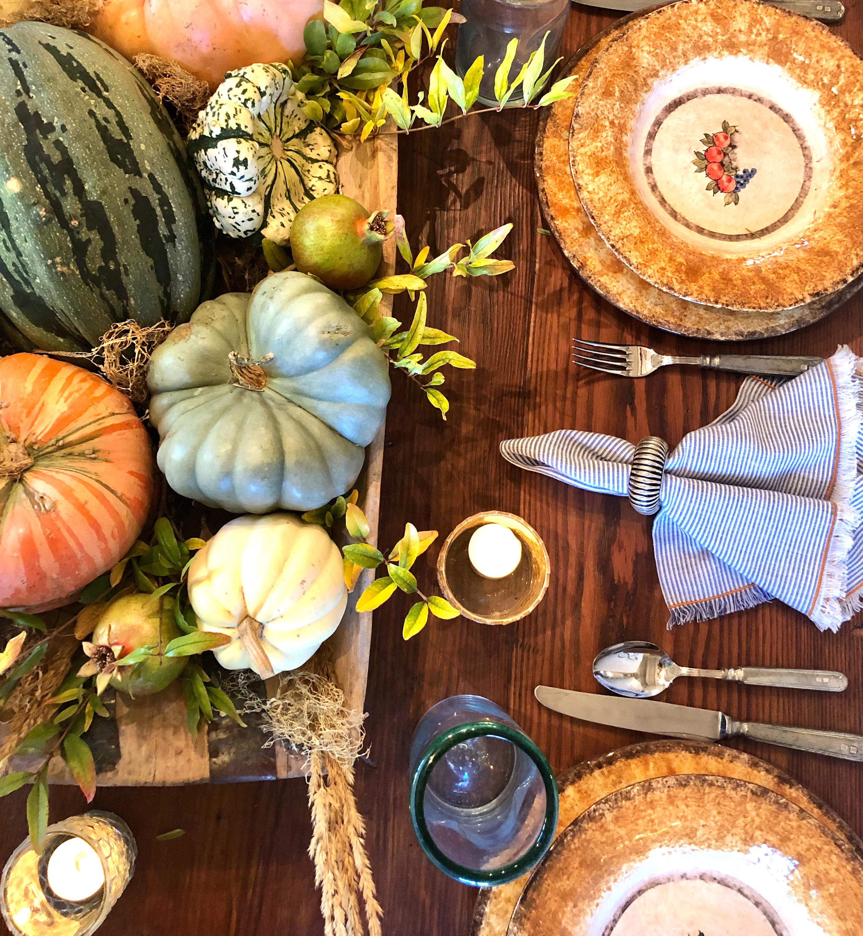 antique dough bowl with pumpkins