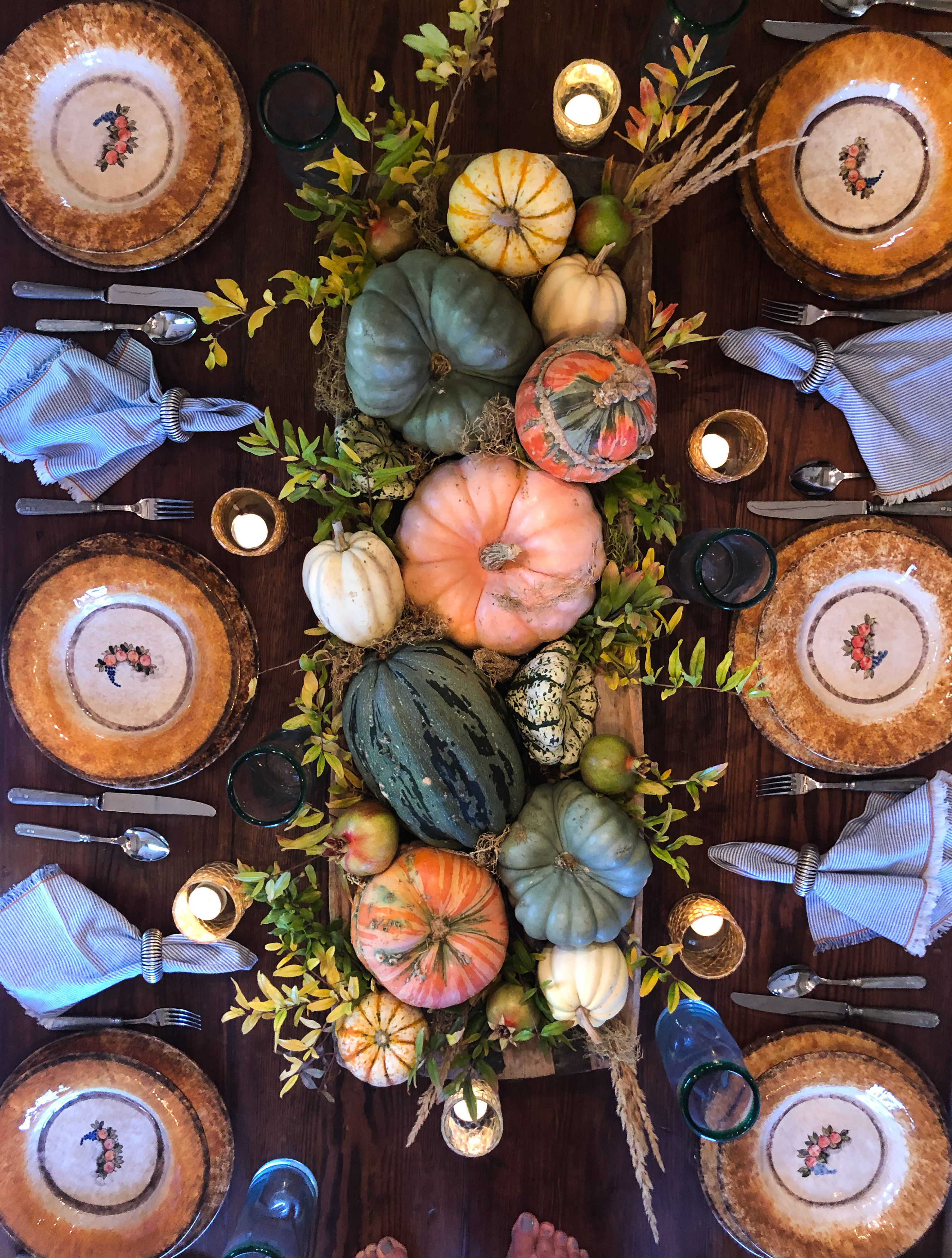 fall tablescape with pumpkins in vintage wood bowl
