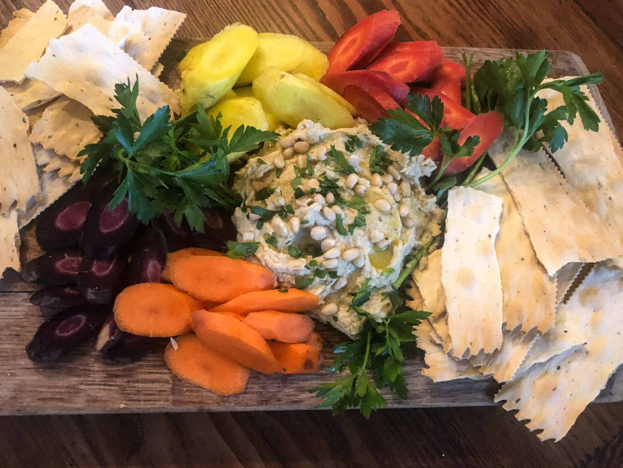 hummus platter with organic carrots