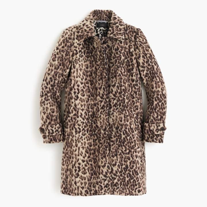 j crew leopard topcoat