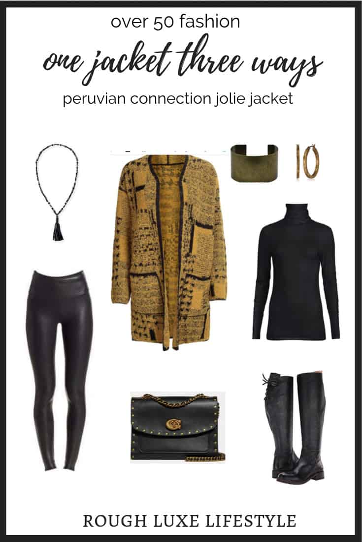 peruvian connection jolie coat styled with black