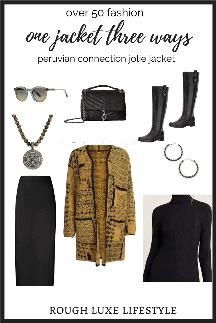 Peruvian Connection Jolie Jacket styled with black skirt and turtleneck