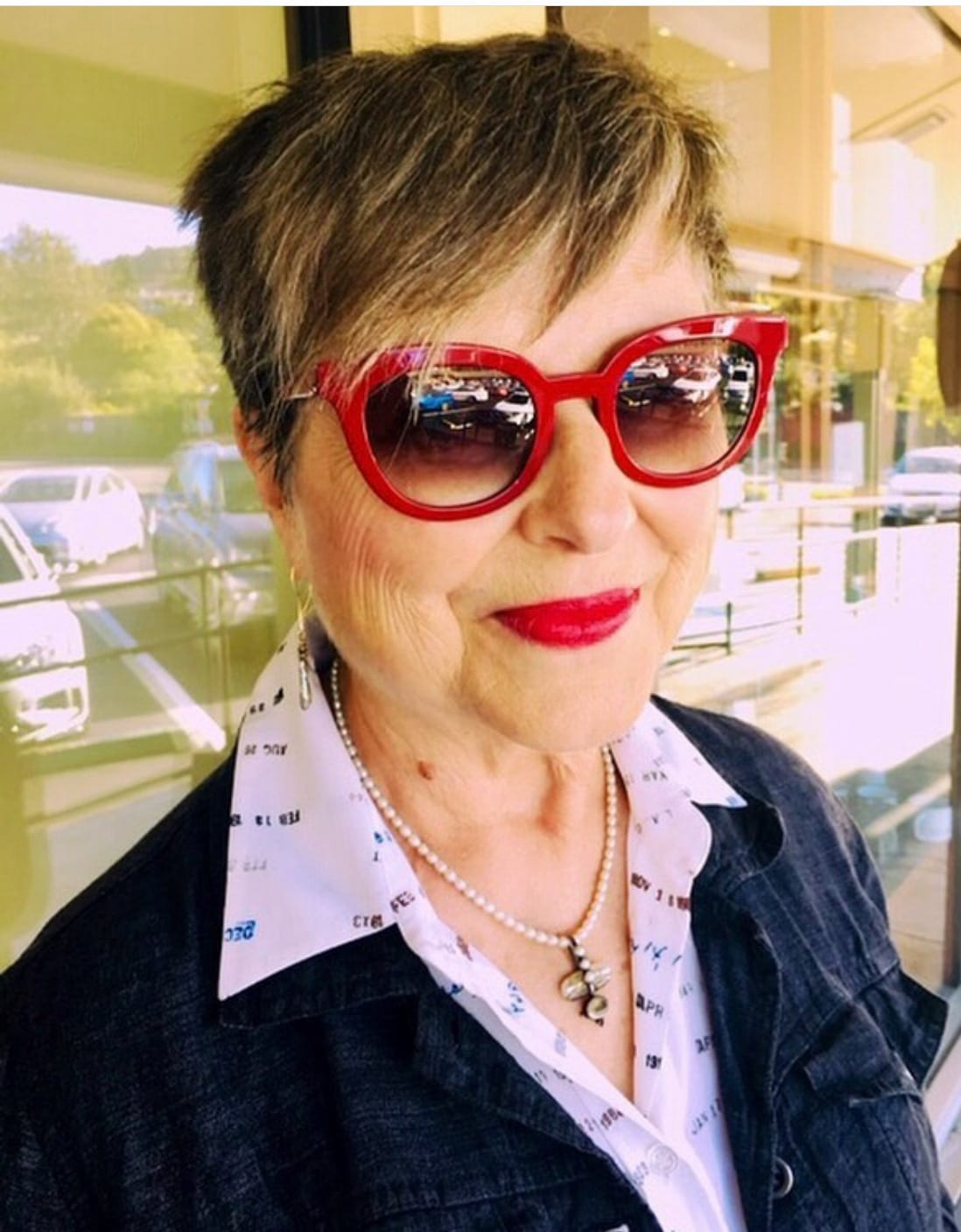 Image Consultant Brenda Kinsel with red lip and glasses