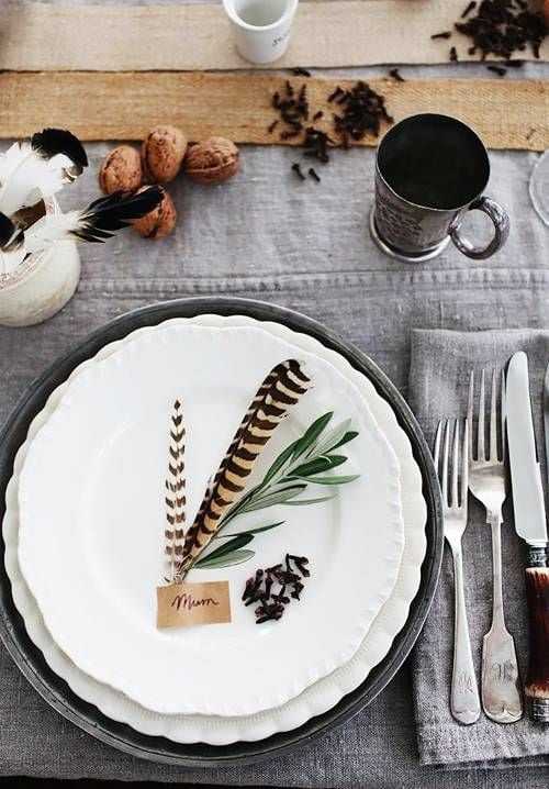 simple tablescape with feathers and foraged greens from my domaine