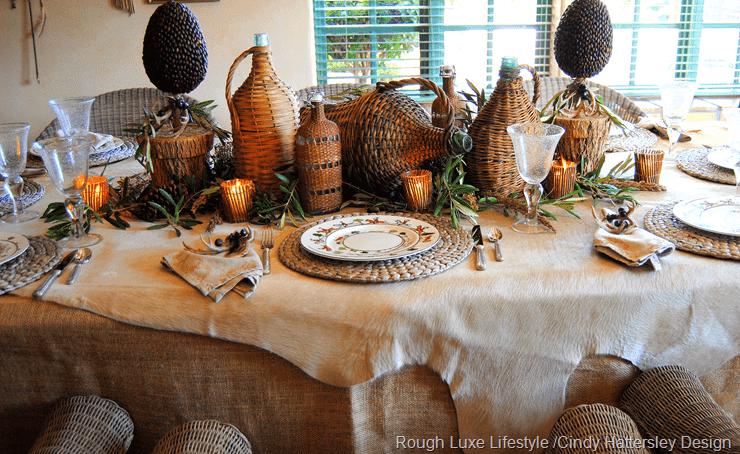 fall wicker bottle tablescape by cindy hattersley design