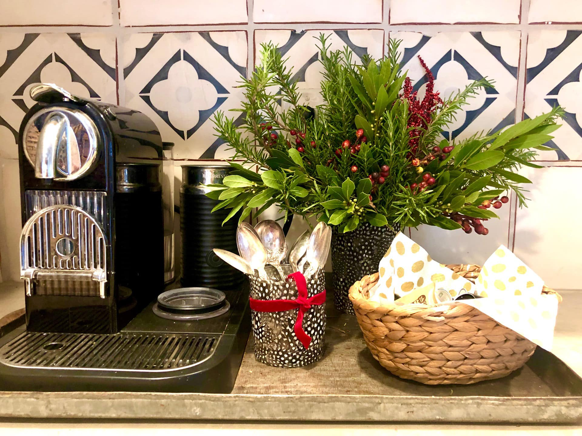 coffee station decked out for Christmas