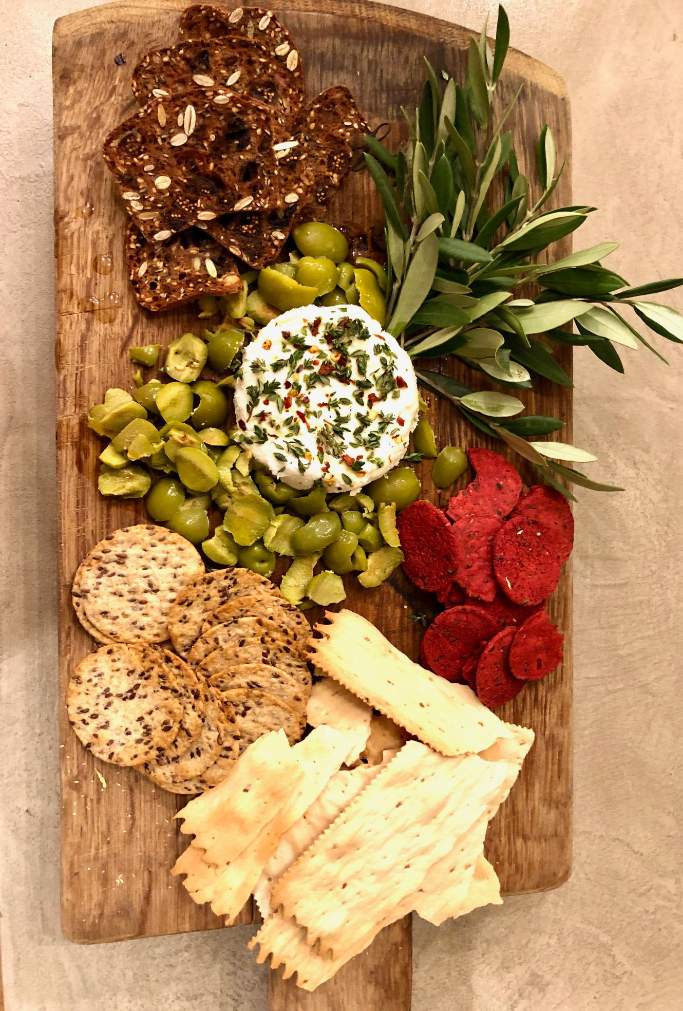 goat cheese and castroveltano olives