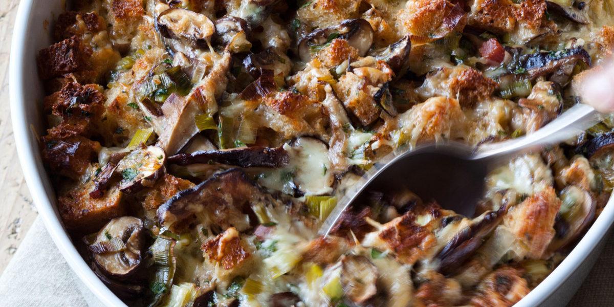 ina garten's mushroom leek bread pudding