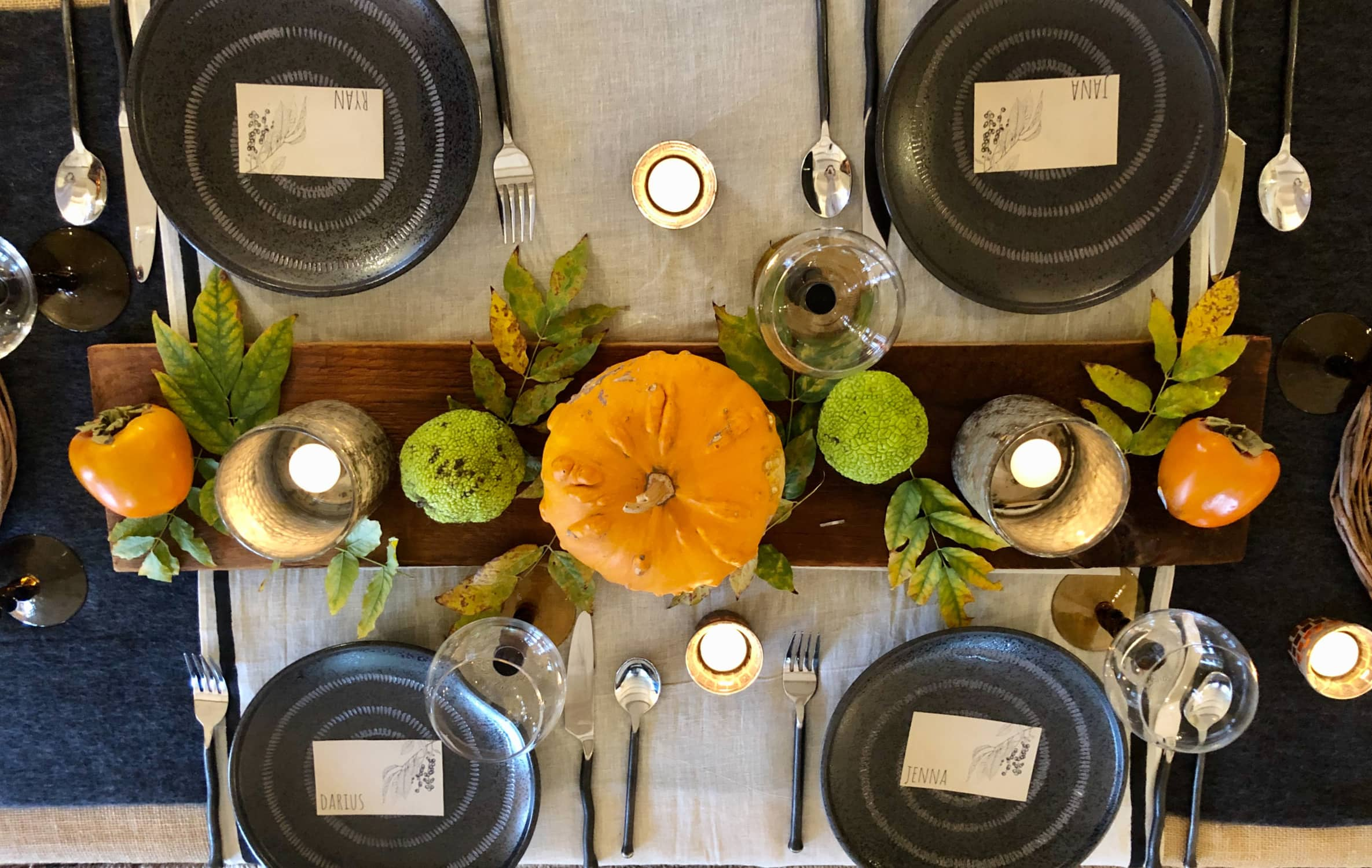 thanksgving table in black and orange by cindy hattersley design
