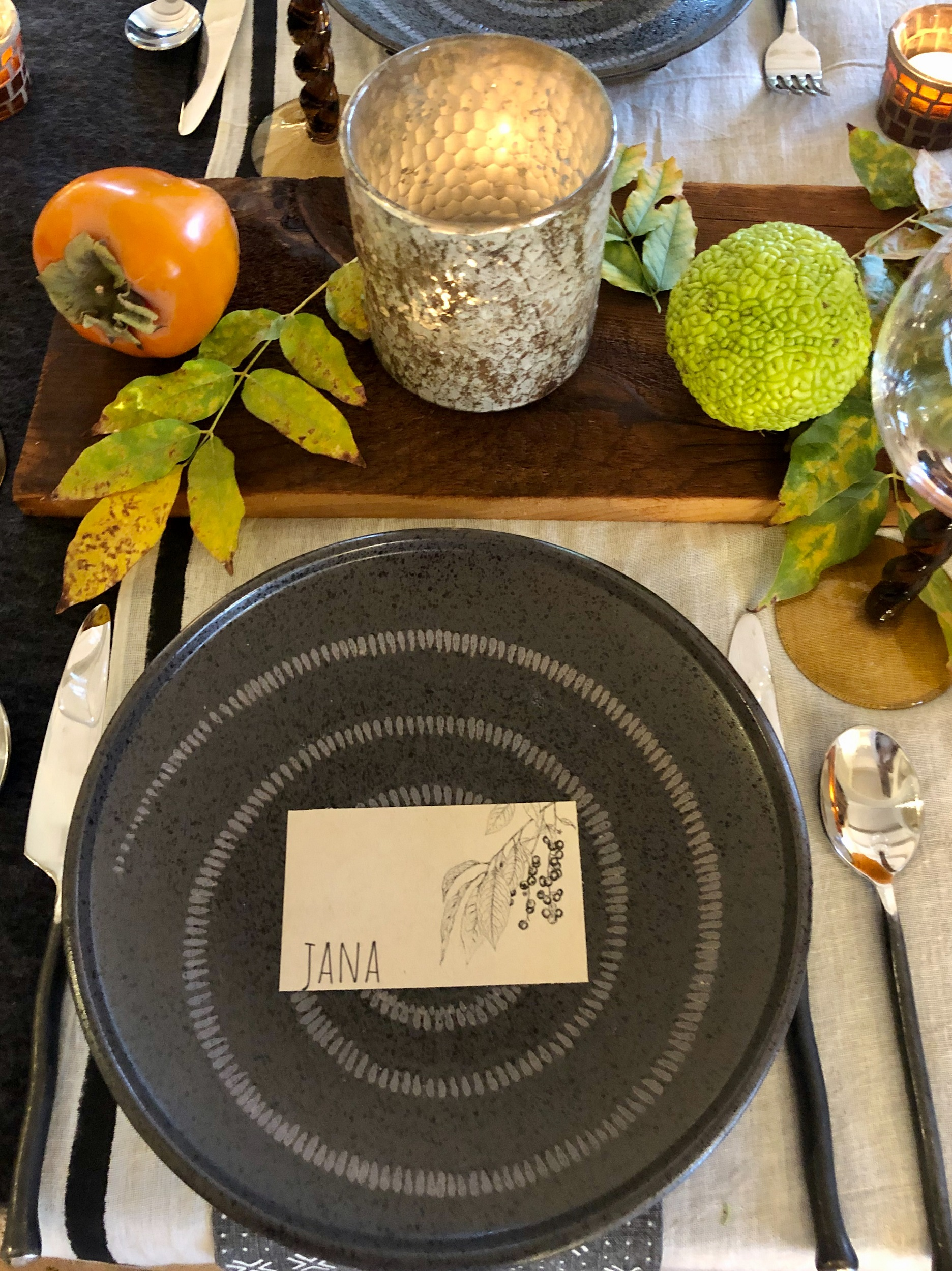 thanksgiving table 2019 cindy hattersley design in black and orange