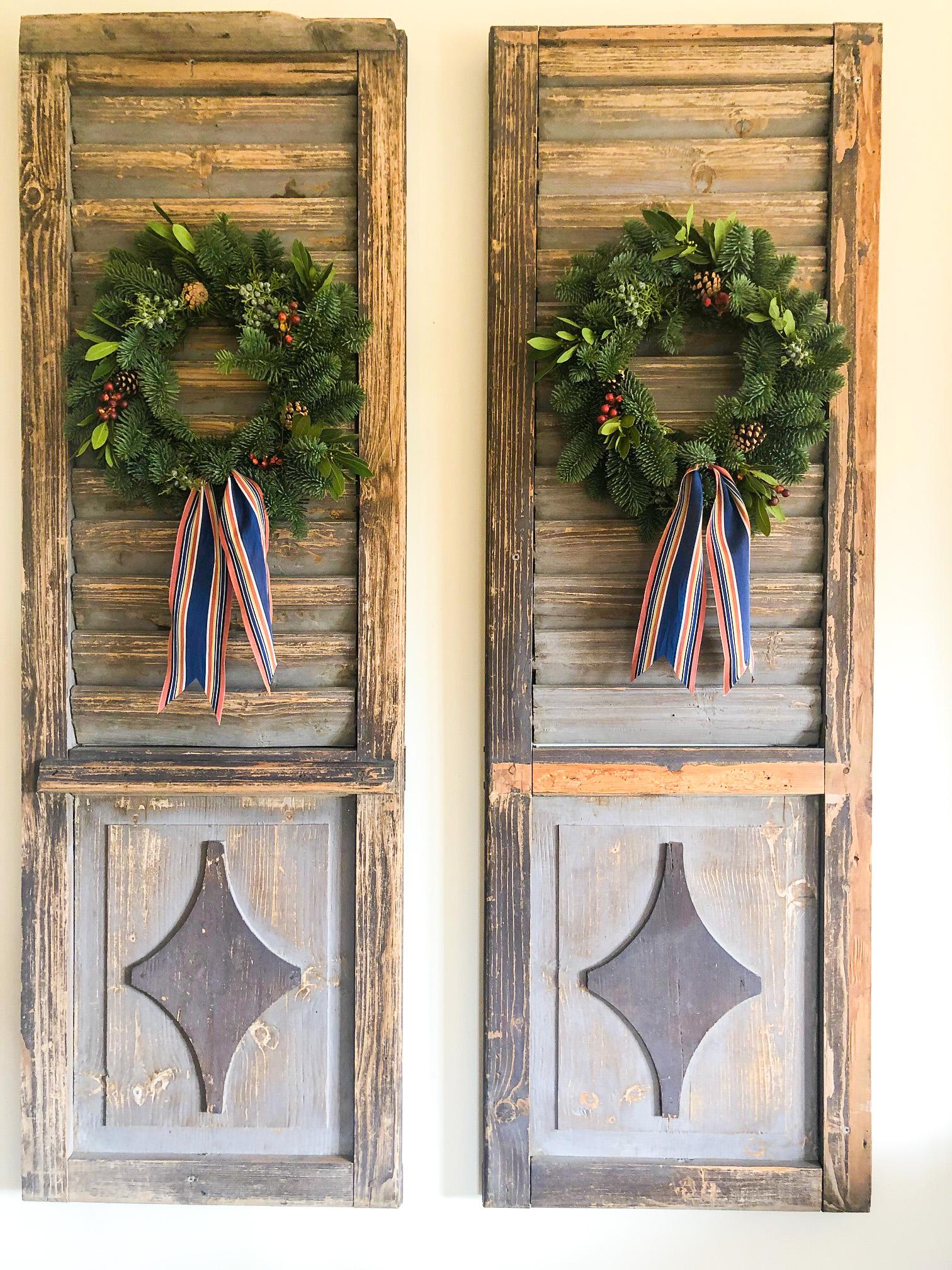 trader joe's wreaths on vintage shutters